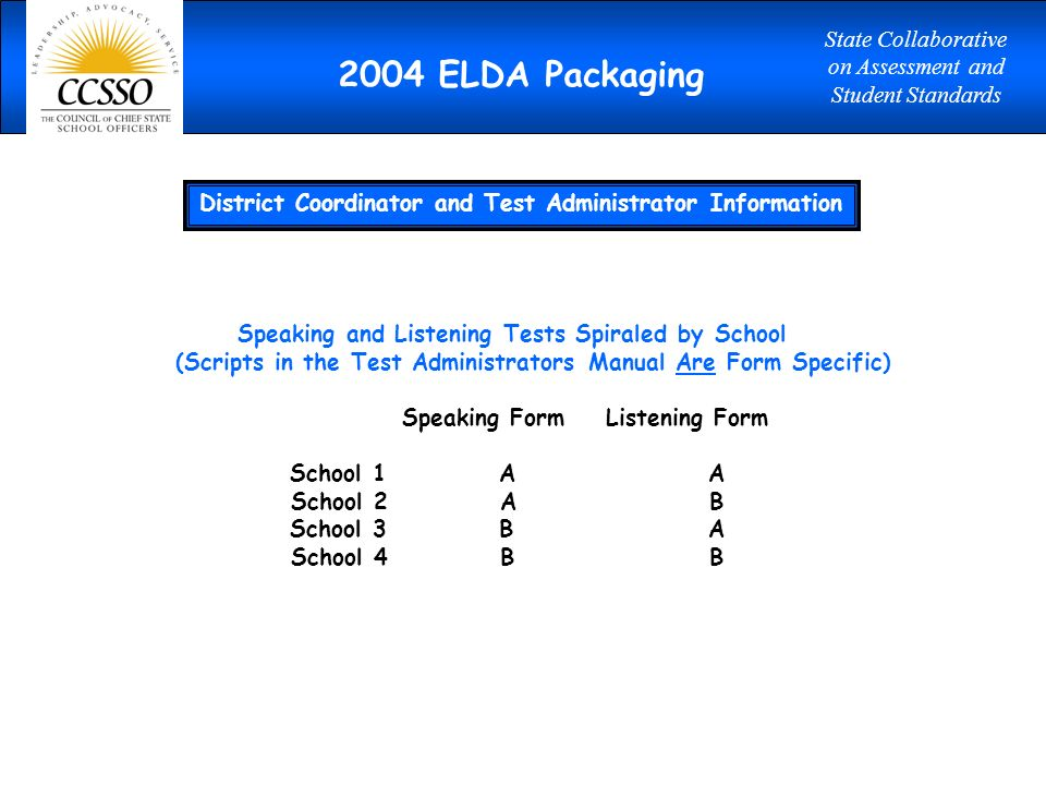 2004 ELDA Packaging District Coordinator and Test Administrator Information Speaking and Listening Tests Spiraled by School (Scripts in the Test Administrators Manual Are Form Specific) Speaking Form Listening Form School 1AA School 2AB School 3BA School 4BB 2004 ELDA Packaging State Collaborative on Assessment and Student Standards