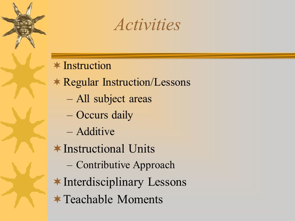 Activities Instruction Regular Instruction/Lessons –All subject areas –Occurs daily –Additive Instructional Units –Contributive Approach Interdiscipli