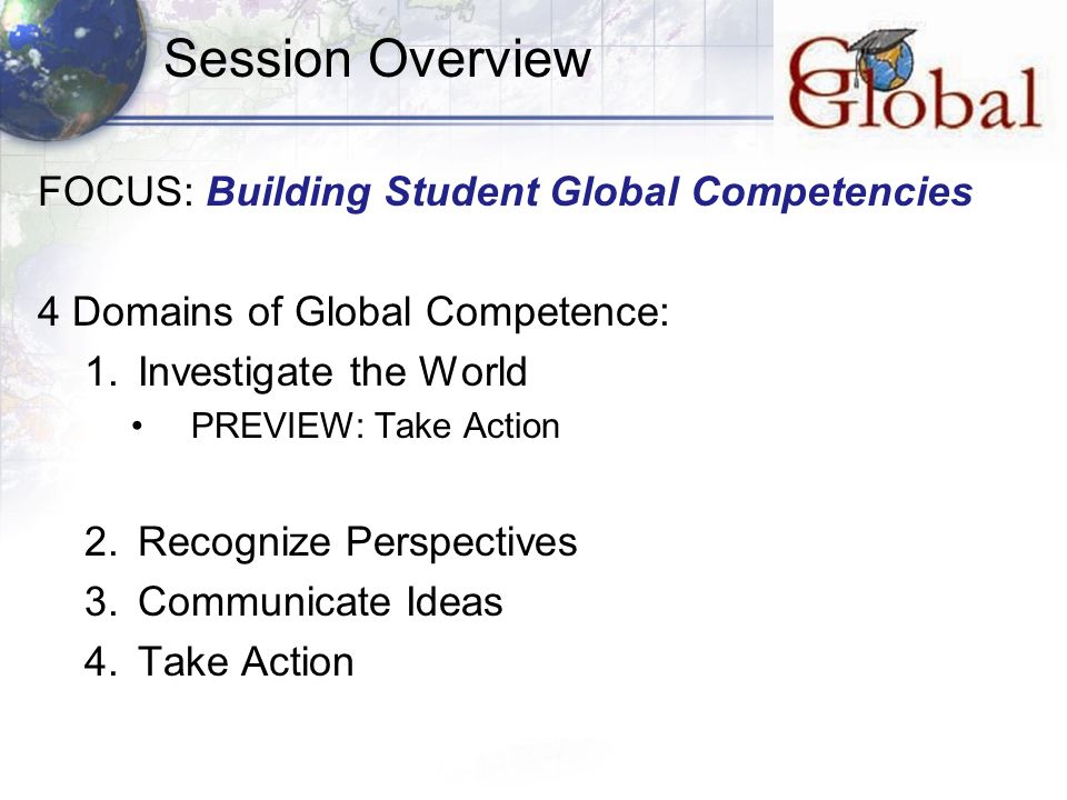 Session Overview FOCUS: Building Student Global Competencies 4 Domains of Global Competence: 1.Investigate the World PREVIEW: Take Action 2.Recognize Perspectives 3.Communicate Ideas 4.Take Action