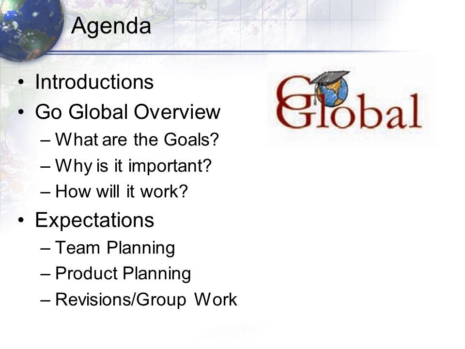 Program Goals: 2009-10 FOCUS: Building Professional Learning Communities in Schools 1.Understand the influence of culture (language, products, perspectives and practices) on the identity of diverse students (language, ethnic, race, disability) 2.Use knowledge of 21 st century technology, partnerships and resources to facilitate school-wide international student learning experience 3.Understand how to effectively design and implement an ongoing school-wide international student learning experience 4.Serve as an advocate for 21 st learning global awareness and positive student global dispositions?