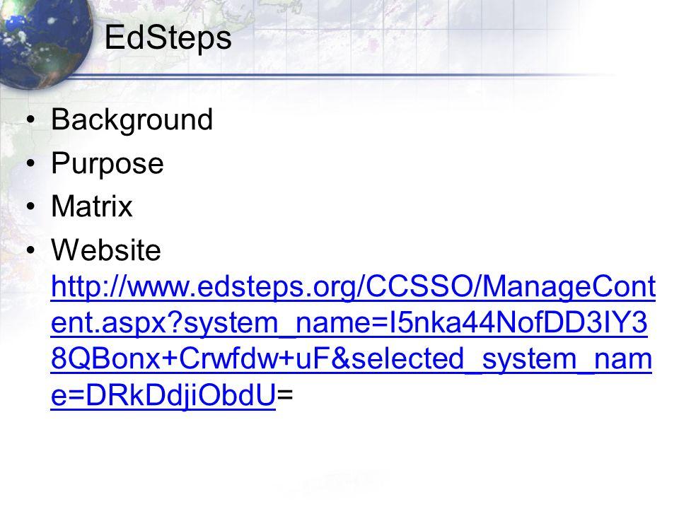 EdSteps Background Purpose Matrix Website http://www.edsteps.org/CCSSO/ManageCont ent.aspx system_name=I5nka44NofDD3IY3 8QBonx+Crwfdw+uF&selected_system_nam e=DRkDdjiObdU= http://www.edsteps.org/CCSSO/ManageCont ent.aspx system_name=I5nka44NofDD3IY3 8QBonx+Crwfdw+uF&selected_system_nam e=DRkDdjiObdU