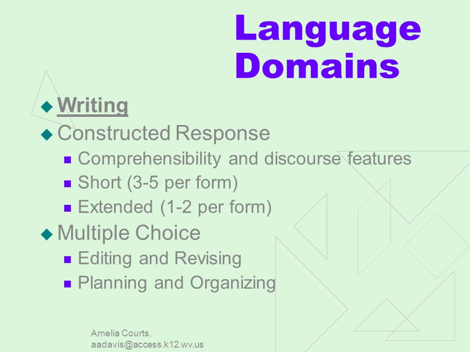 Amelia Courts, aadavis@access.k12.wv.us Language Domains Writing Constructed Response Comprehensibility and discourse features Short (3-5 per form) Extended (1-2 per form) Multiple Choice Editing and Revising Planning and Organizing