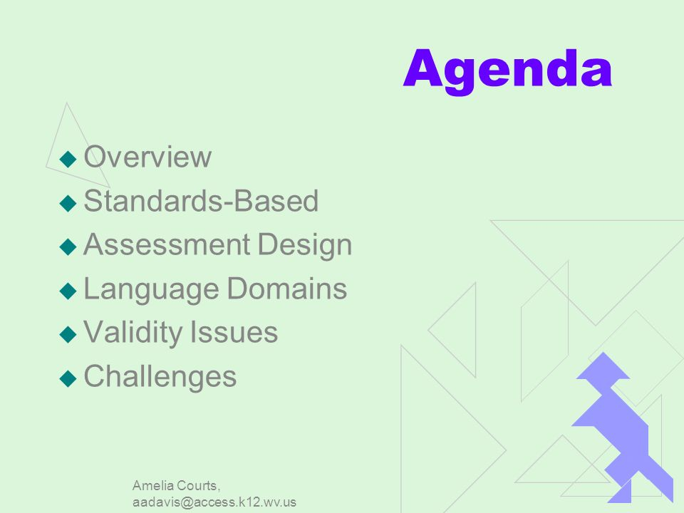 Amelia Courts, aadavis@access.k12.wv.us Agenda Overview Standards-Based Assessment Design Language Domains Validity Issues Challenges
