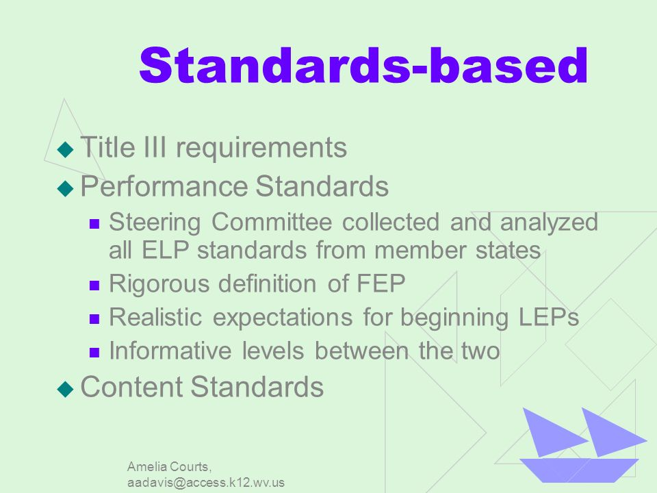 Amelia Courts, aadavis@access.k12.wv.us Standards-based Title III requirements Performance Standards Steering Committee collected and analyzed all ELP standards from member states Rigorous definition of FEP Realistic expectations for beginning LEPs Informative levels between the two Content Standards