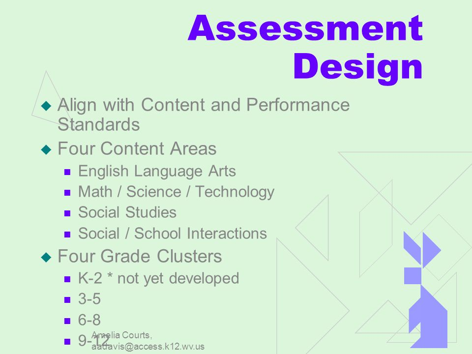 Amelia Courts, aadavis@access.k12.wv.us Assessment Design Align with Content and Performance Standards Four Content Areas English Language Arts Math / Science / Technology Social Studies Social / School Interactions Four Grade Clusters K-2 * not yet developed 3-5 6-8 9-12