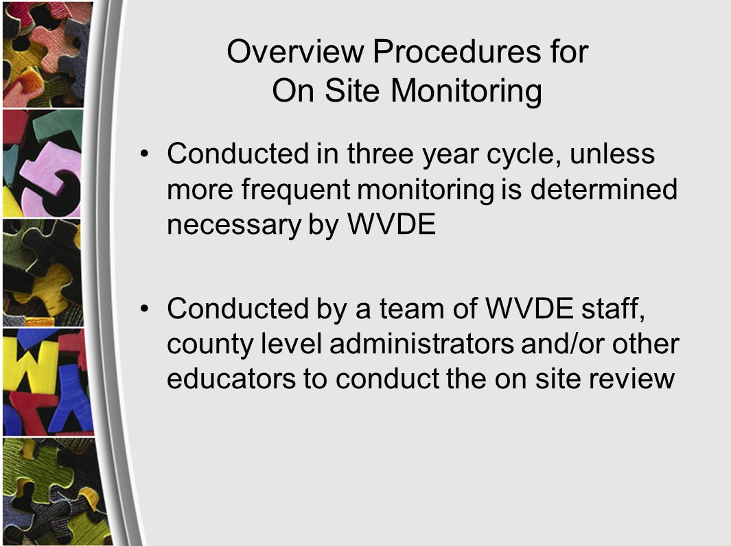 Changes for 2008-09 Monitoring Title III Directors will be asked to submit LEP student data using Student Data Form in advance of monitoring (see next slide) WVDE will draft a visiting schedule with the following considerations: Stick to regularly scheduled ESL classes (aim is not to disrupt student services) Include a variety of schools (Title I, non-Title I, elementary, middle HS, low-incidence, high- incidence) and a variety of the ESL students (beginner through advanced) in the visits as possible The purpose of the visit is to make programmatic observations (not individual teacher observations)