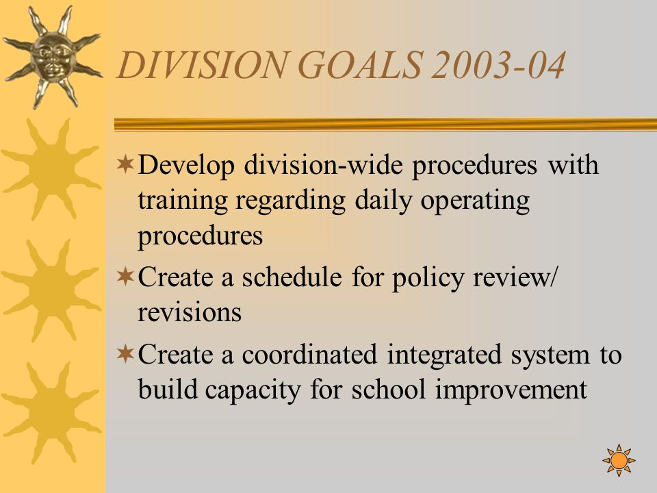 DIVISION GOALS 2003-04 Develop division-wide procedures with training regarding daily operating procedures Create a schedule for policy review/ revisi