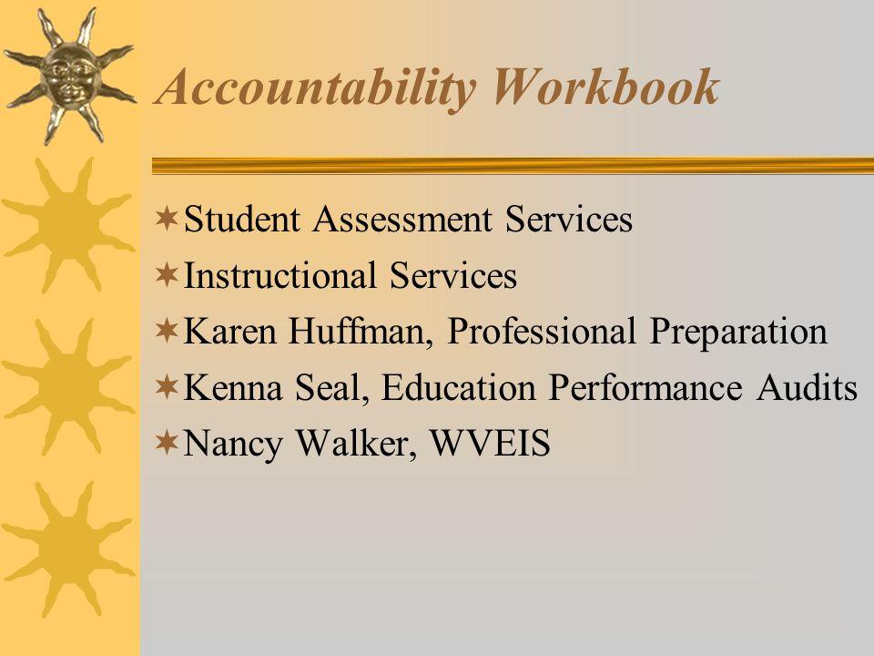 Accountability Workbook Student Assessment Services Instructional Services Karen Huffman, Professional Preparation Kenna Seal, Education Performance Audits Nancy Walker, WVEIS