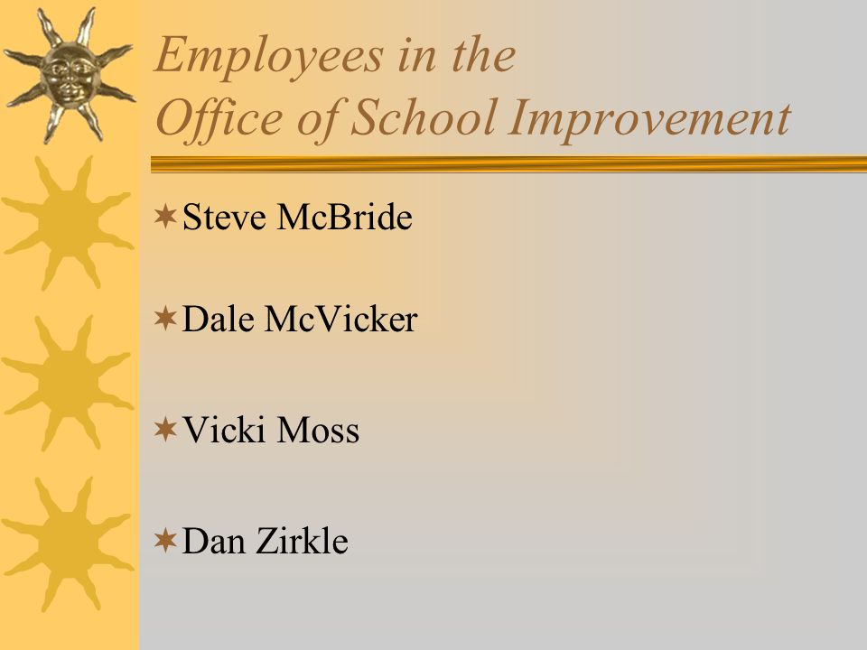SCHOOL IMPROVEMENT Transfer of instructional materials adoption responsibilities to Dan Blackwood State Board approval of the School Improvement Memorandum of Understanding Student achievement gains in 20 of 21schools targeted for technical assistance Improved student attendance in six of seven schools that had been designated as seriously impaired due to poor students attendance
