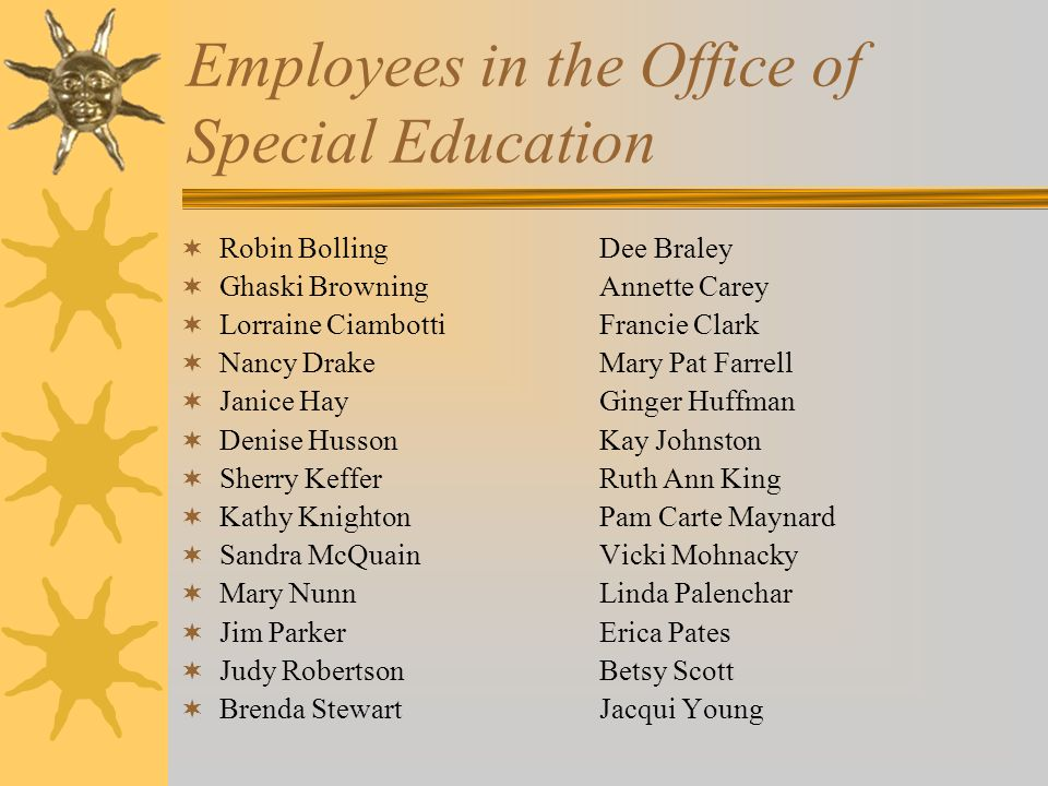 Employees in the Office of Special Education Robin BollingDee Braley Ghaski Browning Annette Carey Lorraine CiambottiFrancie Clark Nancy DrakeMary Pat