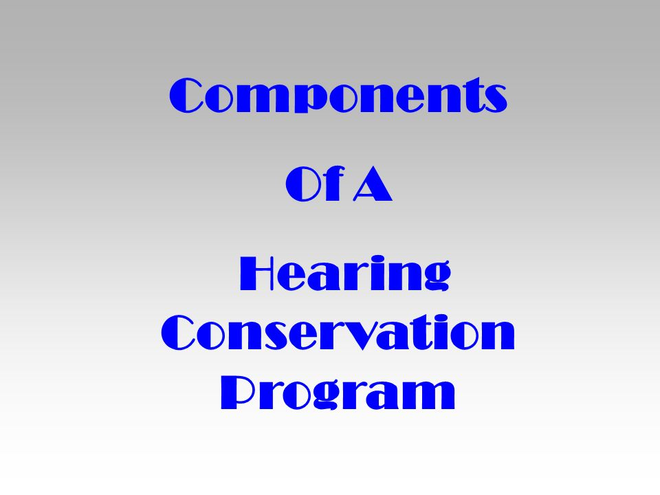 Components Of A Hearing Conservation Program