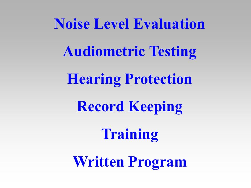 Noise Level Evaluation Audiometric Testing Hearing Protection Record Keeping Training Written Program
