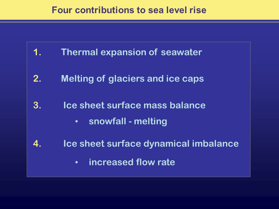 Four contributions to sea level rise 1. Thermal expansion of seawater 2. Melting of glaciers and ice caps 3. Ice sheet surface mass balance snowfall -