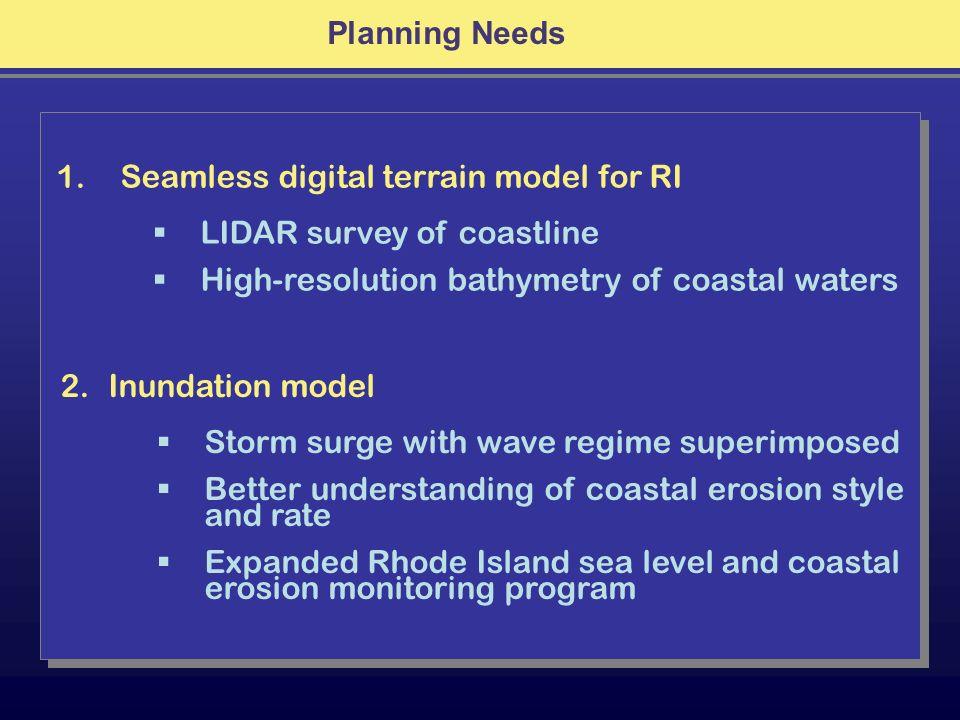 Planning Needs 1. Seamless digital terrain model for RI LIDAR survey of coastline High-resolution bathymetry of coastal waters 2.Inundation model Stor