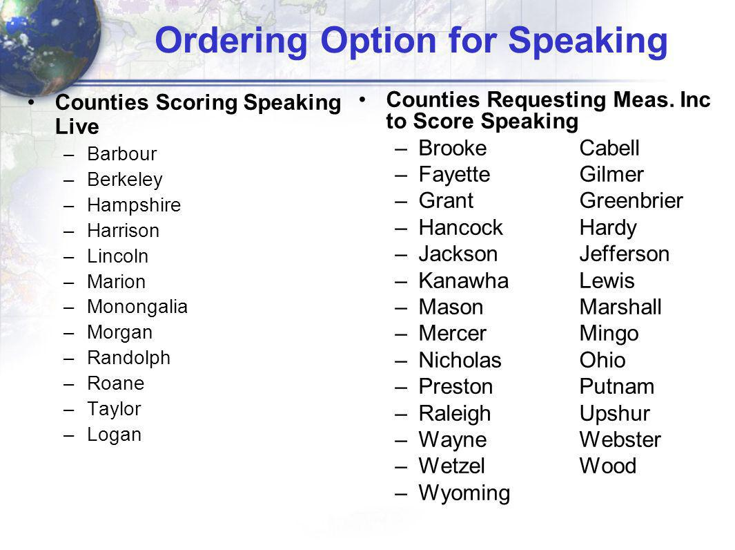 Ordering Option for Speaking Counties Scoring Speaking Live –Barbour –Berkeley –Hampshire –Harrison –Lincoln –Marion –Monongalia –Morgan –Randolph –Ro