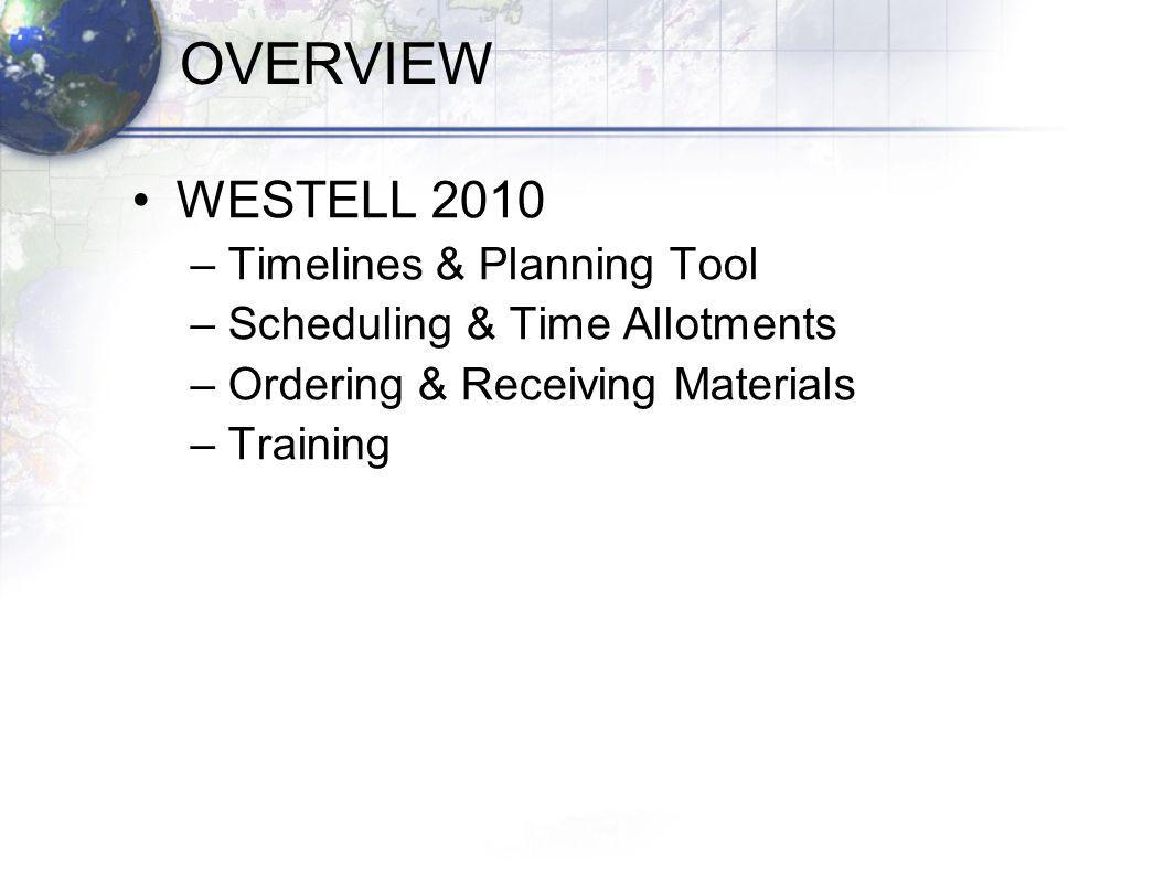 OVERVIEW WESTELL 2010 –Timelines & Planning Tool –Scheduling & Time Allotments –Ordering & Receiving Materials –Training