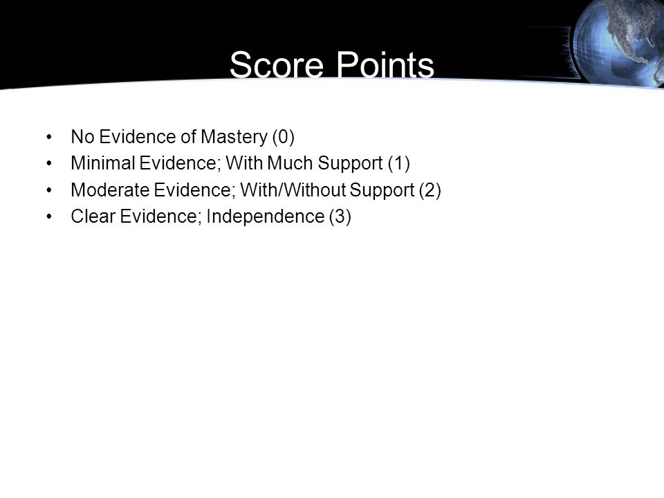 Score Points No Evidence of Mastery (0) Minimal Evidence; With Much Support (1) Moderate Evidence; With/Without Support (2) Clear Evidence; Independen