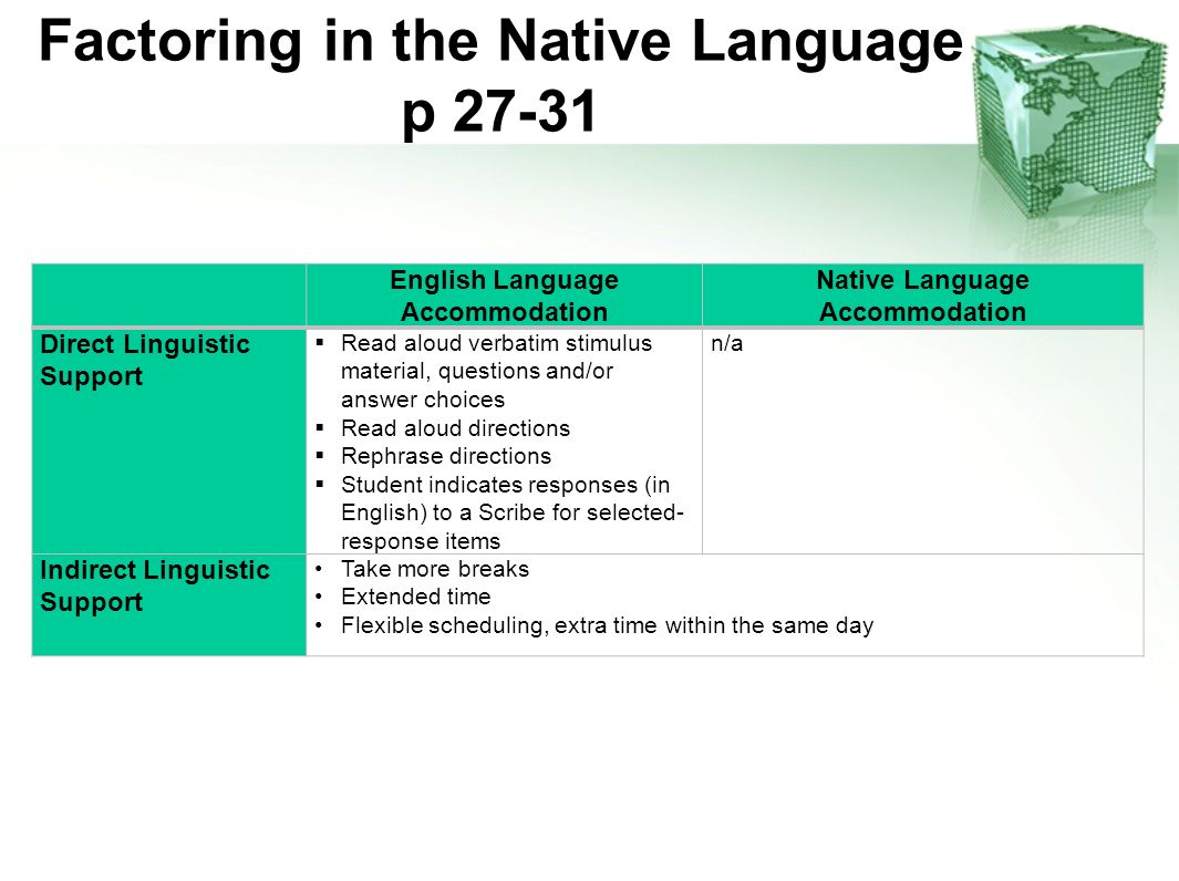 Factoring in the Native Language p 27-31 English Language Accommodation Native Language Accommodation Direct Linguistic Support Read aloud verbatim st