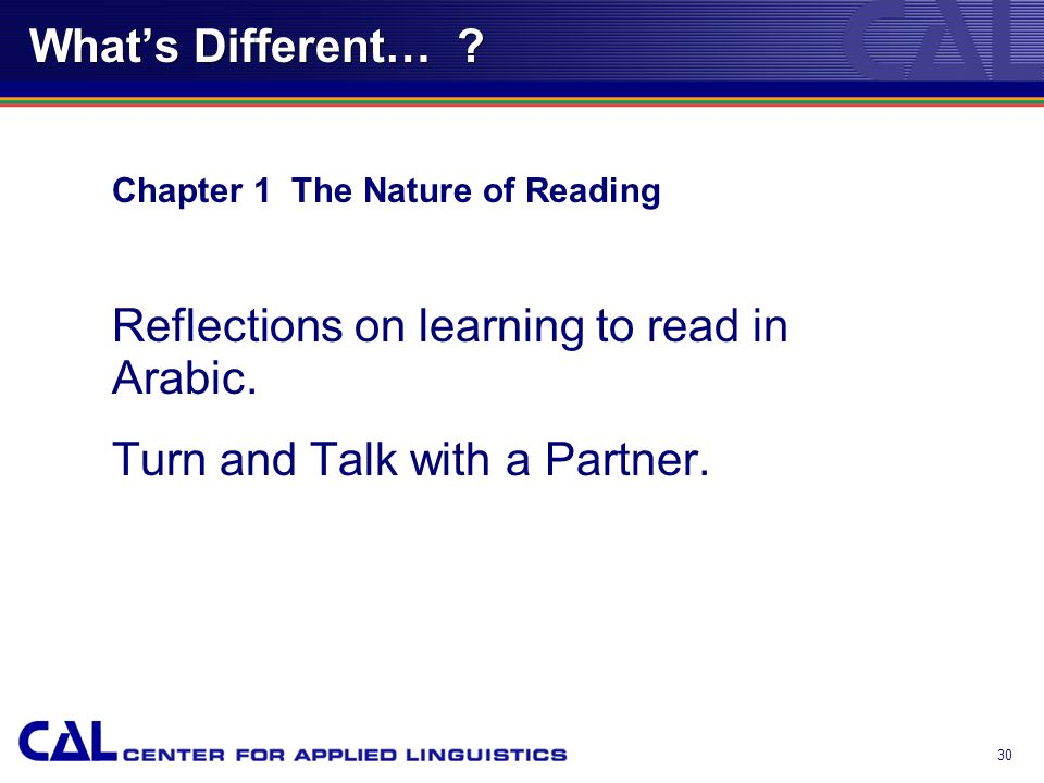 29 Whats Different… ? Chapter 1 The Nature of Reading We will watch a segment of a video entitled, Why Reading is Hard? (Catherine Snow and Lily Wong-