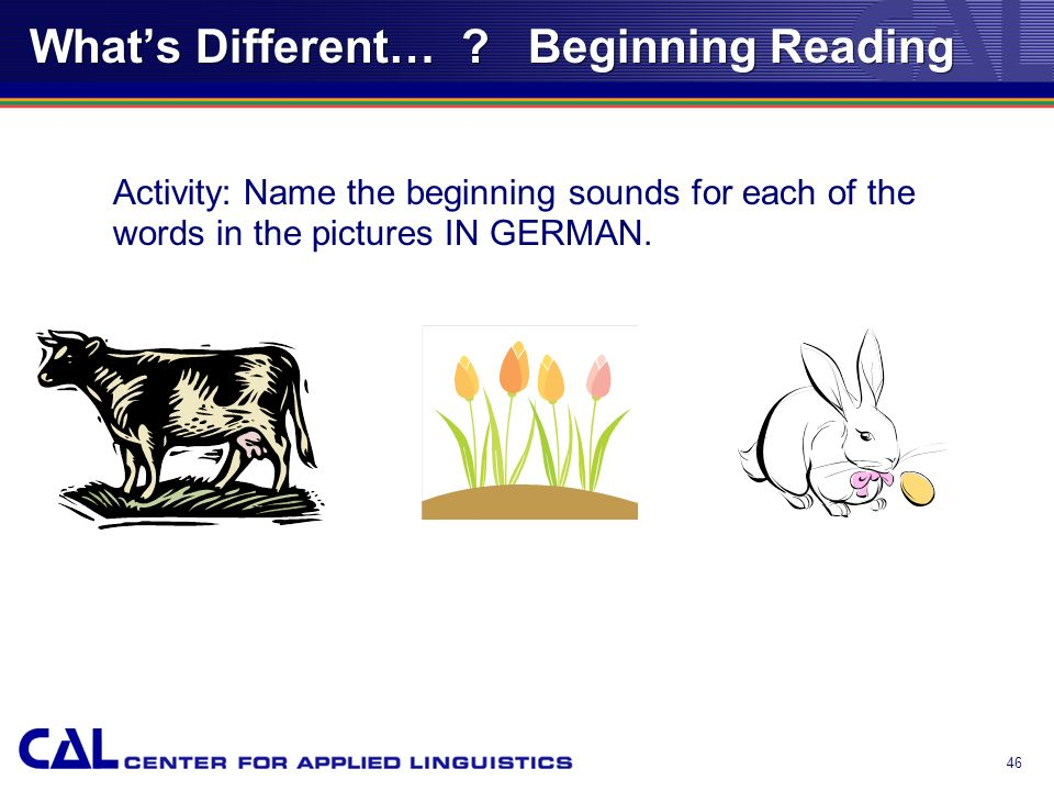 45 Whats Different… ? Chapter 4 Beginning Reading Phonemic Awareness and Phonics Considerations for ELLs ELLs not literate in first language ELLs with