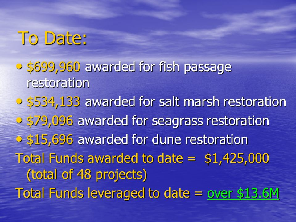 To Date: $699,960 awarded for fish passage restoration $699,960 awarded for fish passage restoration $534,133 awarded for salt marsh restoration $534,133 awarded for salt marsh restoration $79,096 awarded for seagrass restoration $79,096 awarded for seagrass restoration $15,696 awarded for dune restoration $15,696 awarded for dune restoration Total Funds awarded to date = $1,425,000 (total of 48 projects) Total Funds leveraged to date = over $13.6M