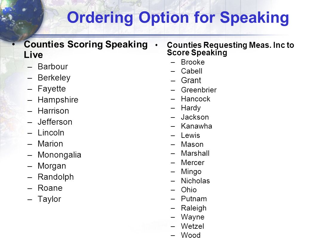 Ordering Option for Speaking Counties Scoring Speaking Live –Barbour –Berkeley –Fayette –Hampshire –Harrison –Jefferson –Lincoln –Marion –Monongalia –Morgan –Randolph –Roane –Taylor Counties Requesting Meas.