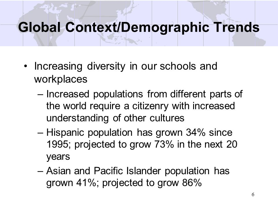 6 Global Context/Demographic Trends Increasing diversity in our schools and workplaces –Increased populations from different parts of the world requir