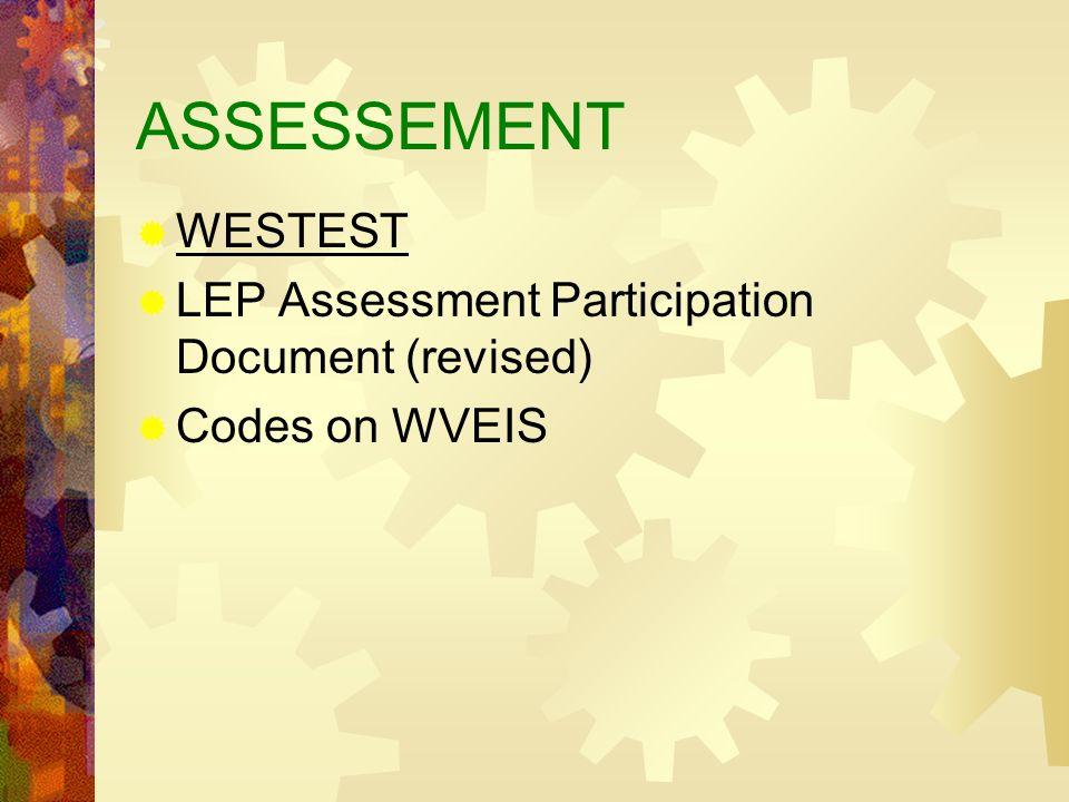 ASSESSEMENT WESTEST LEP Assessment Participation Document (revised) Codes on WVEIS