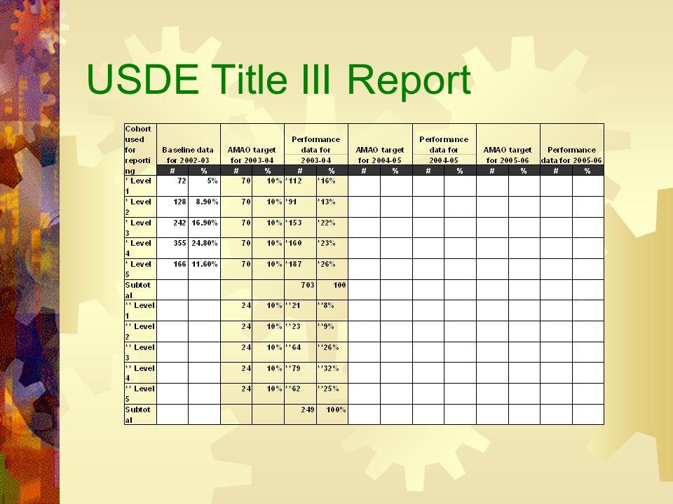 USDE Title III Report