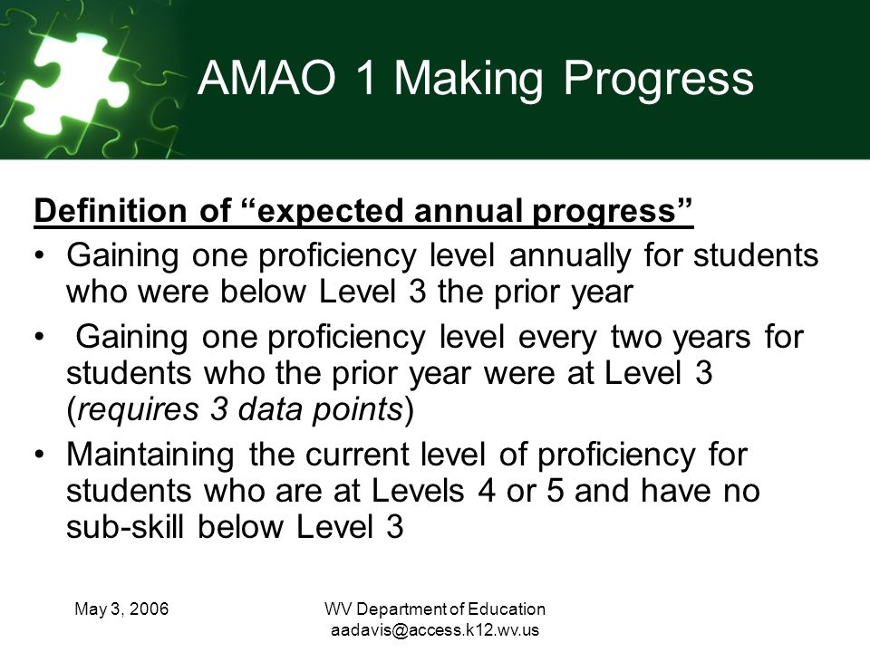 May 3, 2006WV Department of Education AMAO 1 Making Progress Definition of expected annual progress Gaining one proficiency level annually for students who were below Level 3 the prior year Gaining one proficiency level every two years for students who the prior year were at Level 3 (requires 3 data points) Maintaining the current level of proficiency for students who are at Levels 4 or 5 and have no sub-skill below Level 3