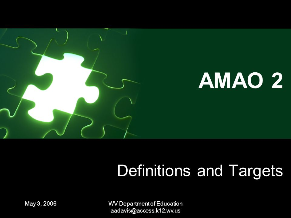 May 3, 2006WV Department of Education Definitions and Targets AMAO 2