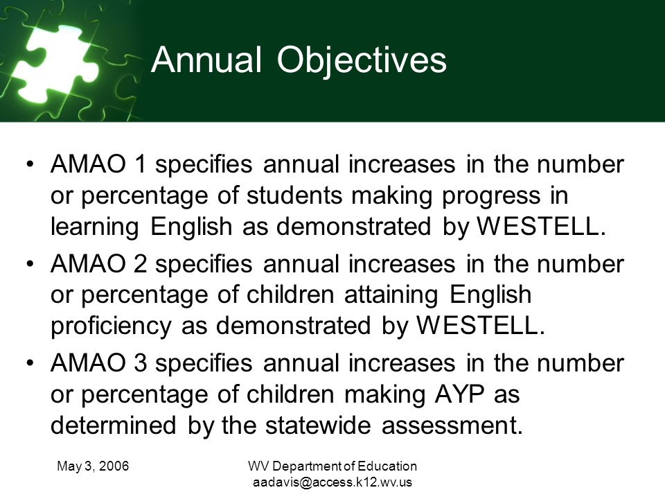May 3, 2006WV Department of Education Annual Objectives AMAO 1 specifies annual increases in the number or percentage of students making progress in learning English as demonstrated by WESTELL.