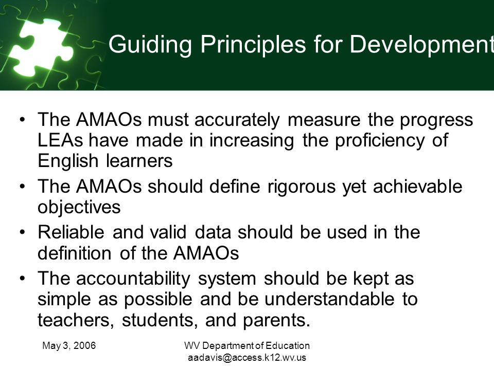 May 3, 2006WV Department of Education Guiding Principles for Development The AMAOs must accurately measure the progress LEAs have made in increasing the proficiency of English learners The AMAOs should define rigorous yet achievable objectives Reliable and valid data should be used in the definition of the AMAOs The accountability system should be kept as simple as possible and be understandable to teachers, students, and parents.