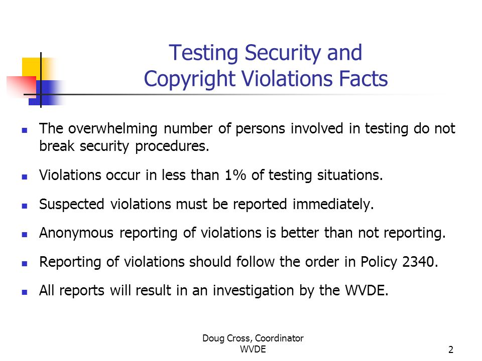 Doug Cross, Coordinator WVDE2 Testing Security and Copyright Violations Facts The overwhelming number of persons involved in testing do not break secu