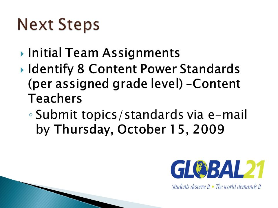 Initial Team Assignments Identify 8 Content Power Standards (per assigned grade level) –Content Teachers Submit topics/standards via e-mail by Thursday, October 15, 2009