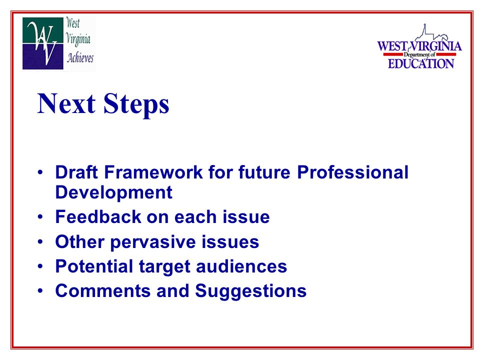 Next Steps Draft Framework for future Professional Development Feedback on each issue Other pervasive issues Potential target audiences Comments and Suggestions