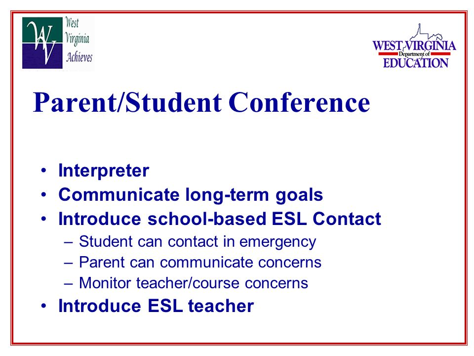 Parent/Student Conference Interpreter Communicate long-term goals Introduce school-based ESL Contact –Student can contact in emergency –Parent can communicate concerns –Monitor teacher/course concerns Introduce ESL teacher