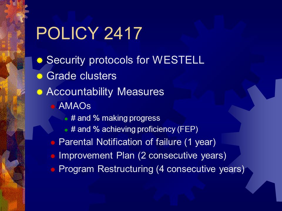 POLICY 2417 Security protocols for WESTELL Grade clusters Accountability Measures AMAOs # and % making progress # and % achieving proficiency (FEP) Parental Notification of failure (1 year) Improvement Plan (2 consecutive years) Program Restructuring (4 consecutive years)