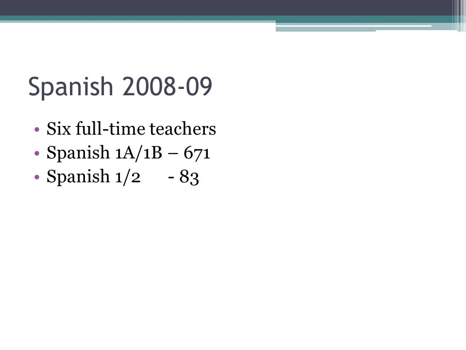 Spanish 2008-09 Six full-time teachers Spanish 1A/1B – 671 Spanish 1/2- 83