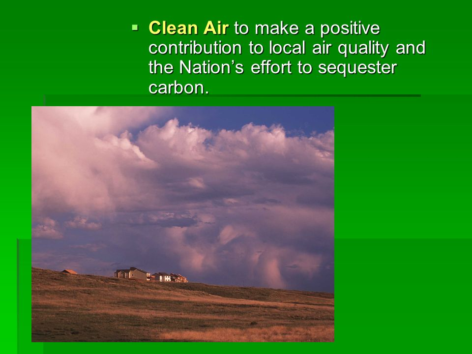 Clean Air to make a positive contribution to local air quality and the Nations effort to sequester carbon. Clean Air to make a positive contribution t
