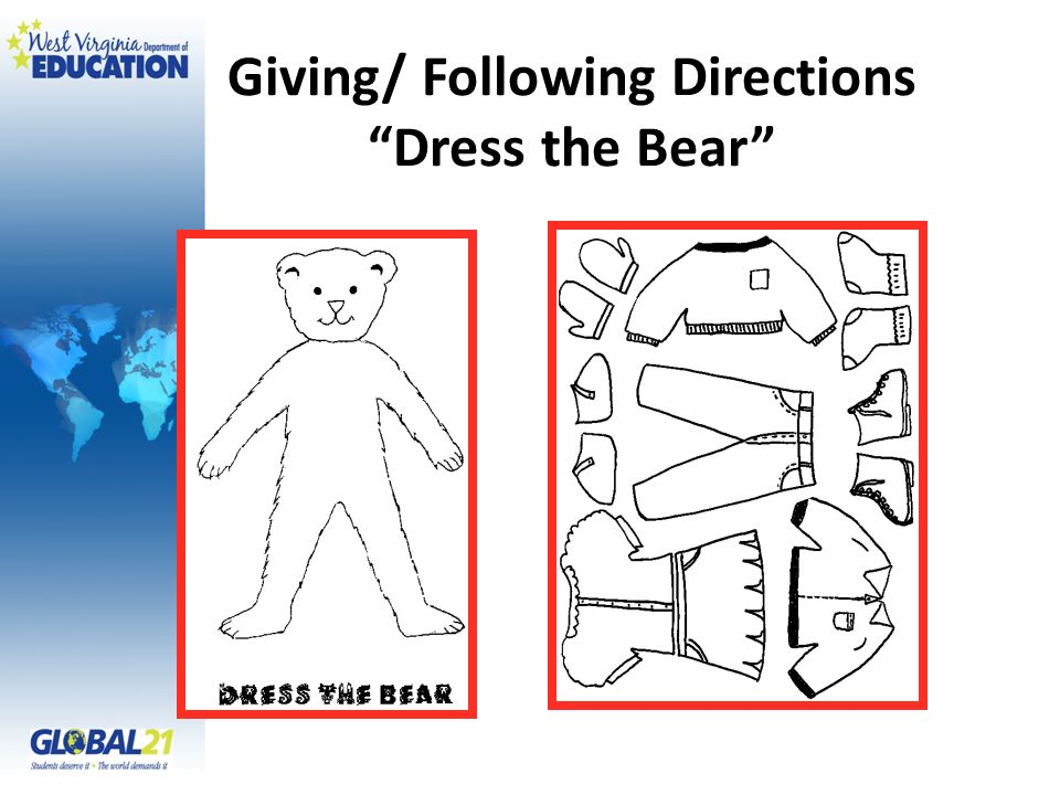 Giving/ Following Directions Dress the Bear