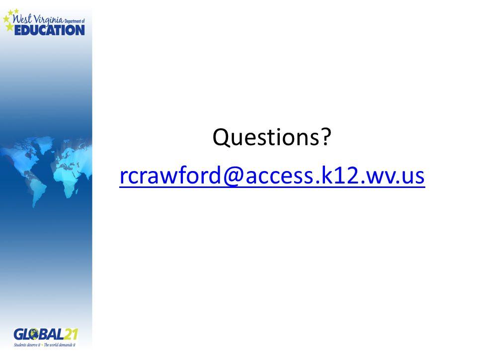 Questions rcrawford@access.k12.wv.us