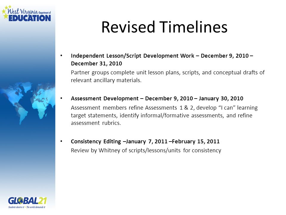 Revised Timelines Independent Lesson/Script Development Work – December 9, 2010 – December 31, 2010 Partner groups complete unit lesson plans, scripts, and conceptual drafts of relevant ancillary materials.