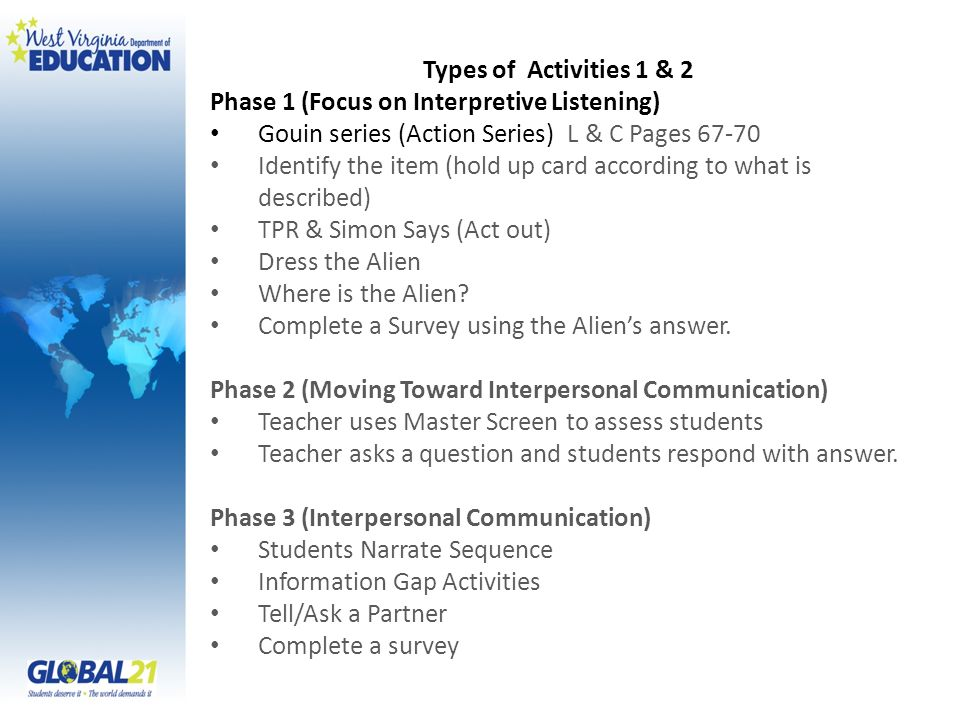 Types of Activities 1 & 2 Phase 1 (Focus on Interpretive Listening) Gouin series (Action Series) L & C Pages 67-70 Identify the item (hold up card according to what is described) TPR & Simon Says (Act out) Dress the Alien Where is the Alien.
