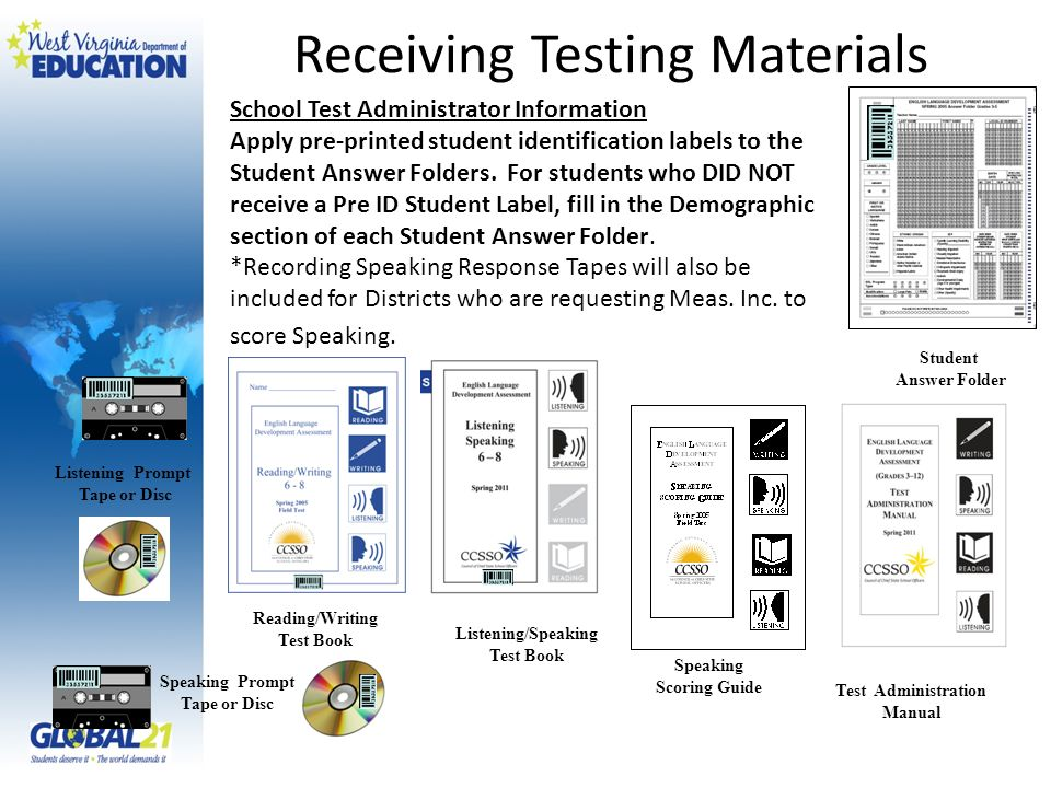 Student Answer Folder Speaking Prompt Tape or Disc Listening Prompt Tape or Disc School Test Administrator Information Apply pre-printed student identification labels to the Student Answer Folders.