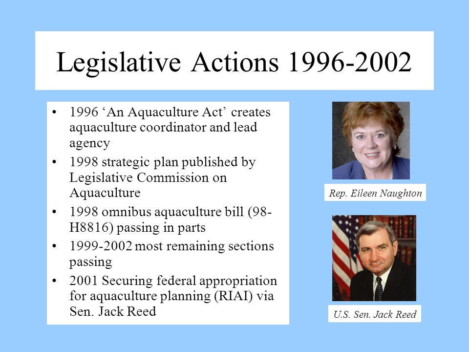 Legislative Actions 1996-2002 1996 An Aquaculture Act creates aquaculture coordinator and lead agency 1998 strategic plan published by Legislative Com