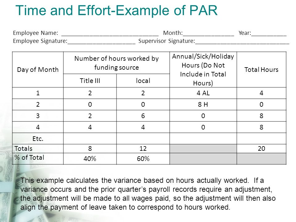Time and Effort-Example of PAR Day of Month Number of hours worked by funding source Annual/Sick/Holiday Hours (Do Not Include in Total Hours) Total H