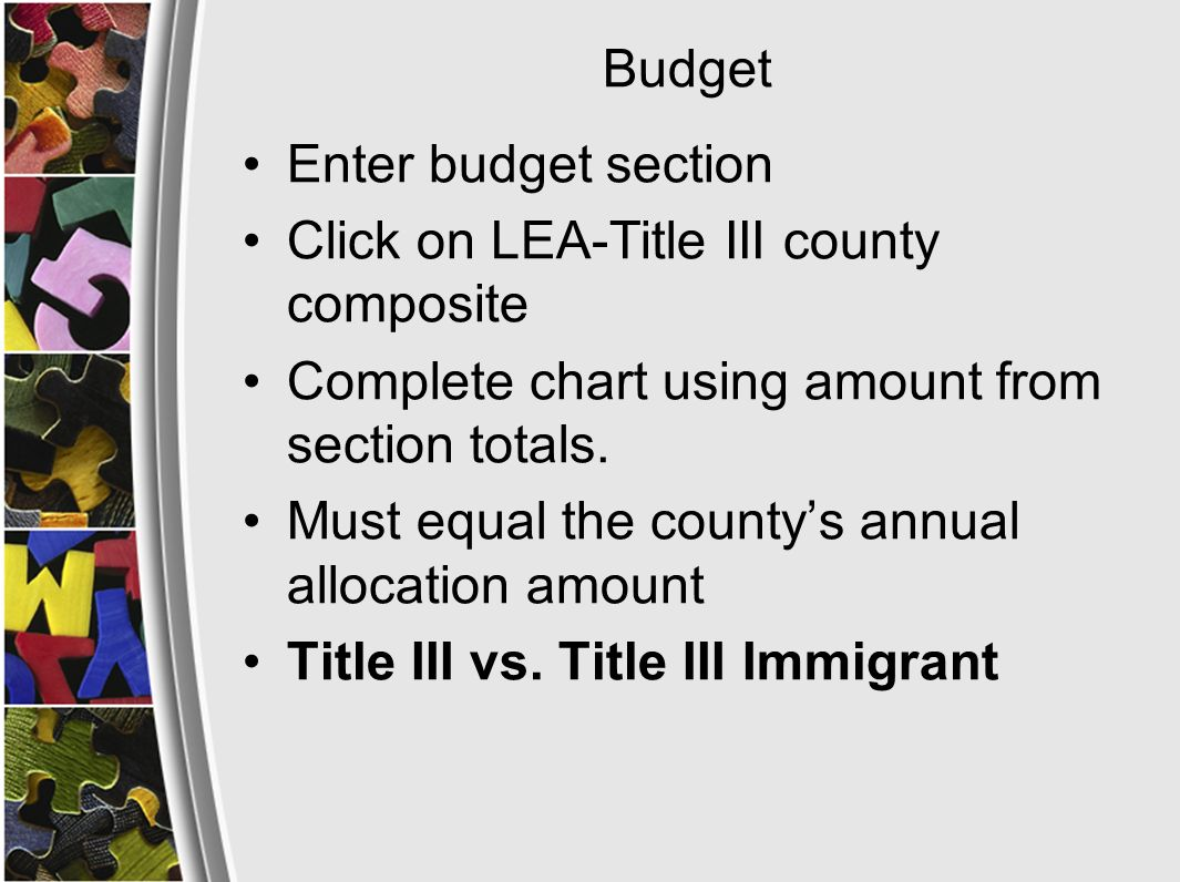 Budget Enter budget section Click on LEA-Title III county composite Complete chart using amount from section totals.