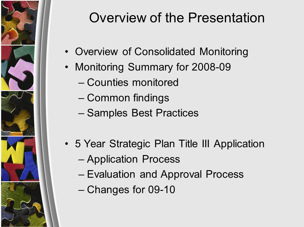 Overview of the Presentation Overview of Consolidated Monitoring Monitoring Summary for 2008-09 –Counties monitored –Common findings –Samples Best Practices 5 Year Strategic Plan Title III Application –Application Process –Evaluation and Approval Process –Changes for 09-10