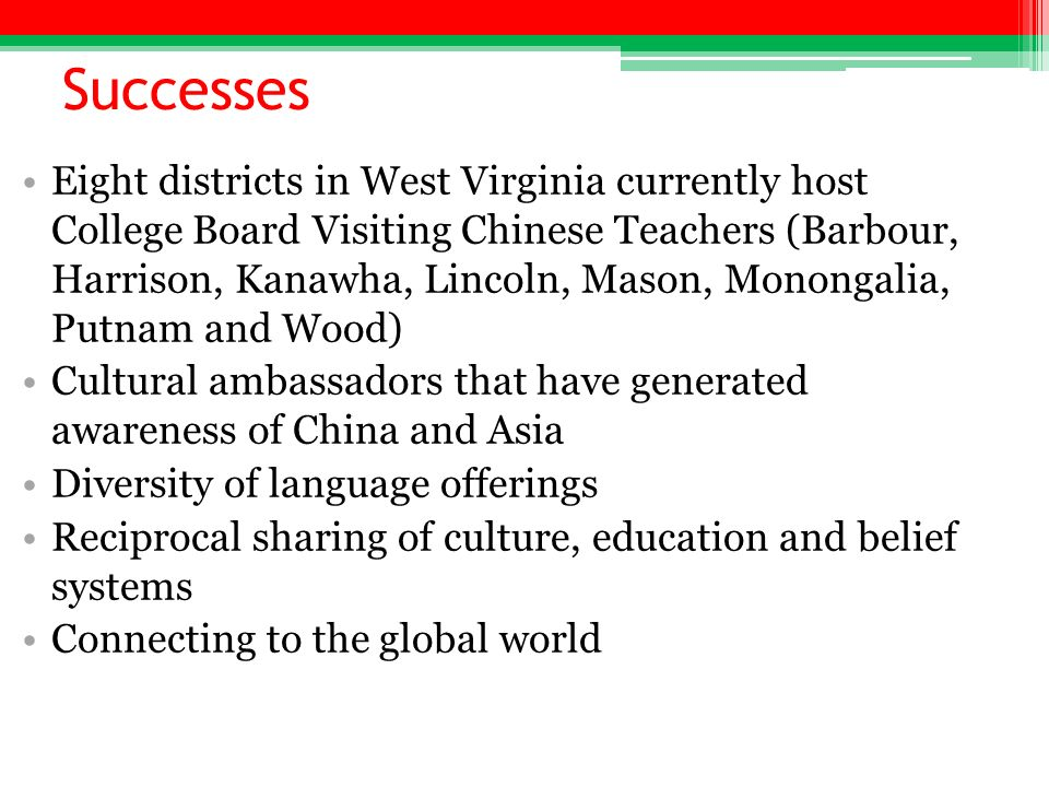 Successes Eight districts in West Virginia currently host College Board Visiting Chinese Teachers (Barbour, Harrison, Kanawha, Lincoln, Mason, Monongalia, Putnam and Wood) Cultural ambassadors that have generated awareness of China and Asia Diversity of language offerings Reciprocal sharing of culture, education and belief systems Connecting to the global world